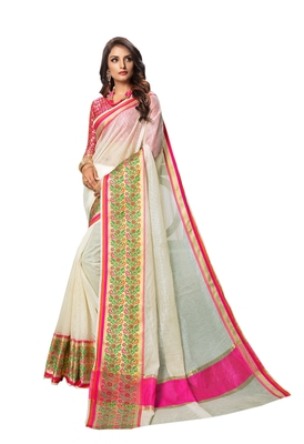 White Woven Cotton Silk Saree With Blouse
