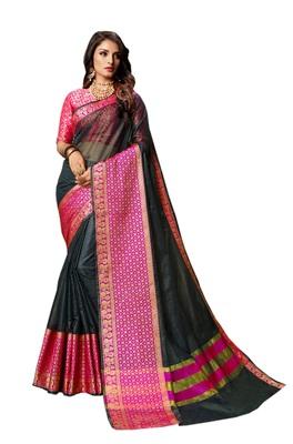 Grey woven cotton silk saree with blouse