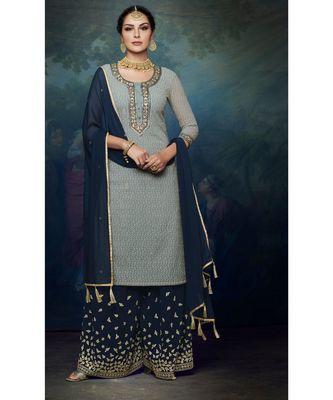 grey embroidered georgette semi stitched salwar with dupatta