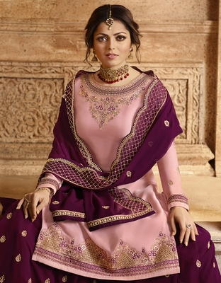 Partywear Designer Embroidery Baby Pink Satin Georgette Salwar Suit