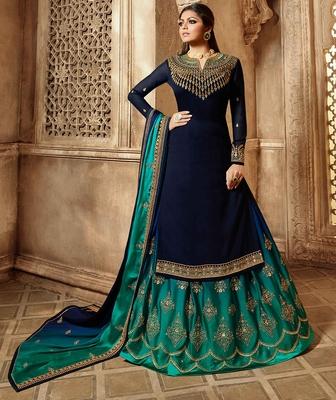 Partywear Designer Embroidery Wine Georgette Salwar Suit