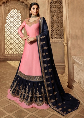 Partywear Designer Embroidery Light Pink Satin Salwar Suit