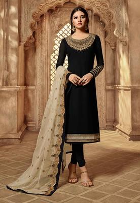 Partywear Designer Embroidery Black Georgette Salwar Suit