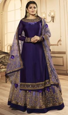 Designer Partywear Embroidery Purple Georgette  Salwar Suit