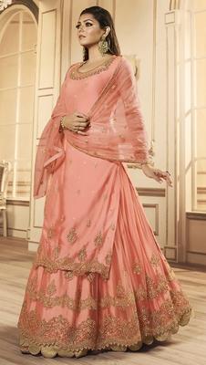 Designer Partywear Embroidery Peach Net Salwar Suit
