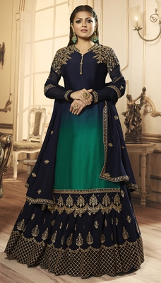 Designer Partywear Embroidery Navy Blue Georgette Satin Salwar Suit