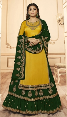 Designer Partywear Embroidery Yellow Georgette Satin Salwar Suit