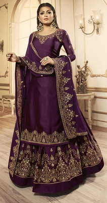 Designer Partywear Embroidery Dark Purple Georgette Satin Salwar Suit