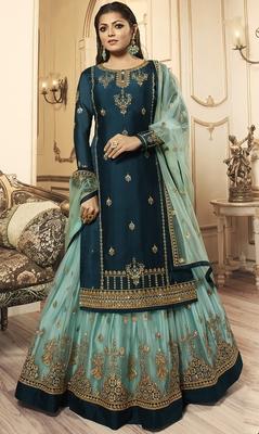 Designer Partywear Embroidery Rama Georgette Satin Salwar Suit