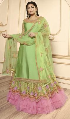 Designer Partywear Embroidery Pista Georgette Satin Salwar Suit
