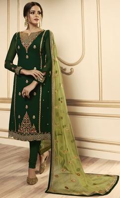 Designer Partywear Embroidery Dark Green Georgette  Salwar Suit