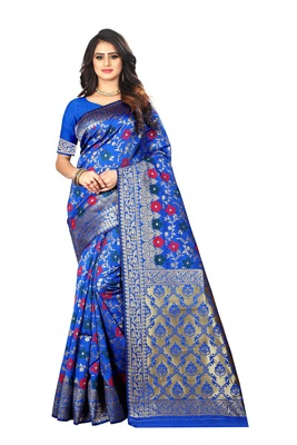 Dark Blue Woven Silk Saree With Blouse