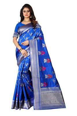 Royal Blue Woven Silk Saree With Blouse