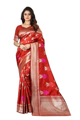 Red Woven Silk Saree With Blouse