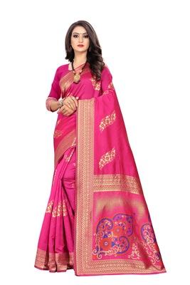 Rani Pink Woven Silk Saree With Blouse