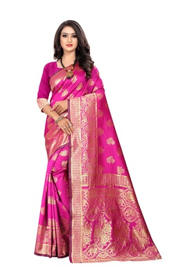 Rani pink woven silk saree with blouse