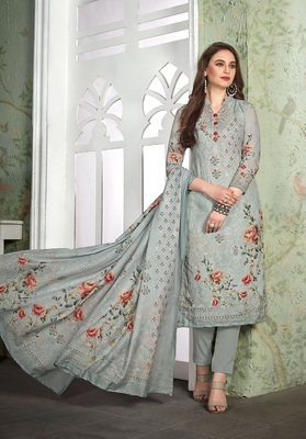 Grey digital print cotton salwar