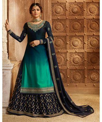 Partywear Designer Embroidery Blue Rama Rangoli Salwar Suit