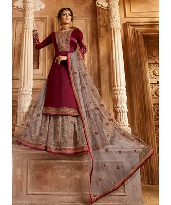 Partywear Designer Embroidery Wine Satin Georgette Salwar Suit