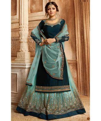 Partywear Designer Embroidery Blue Satin Georgette Salwar Suit