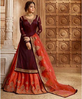 Partywear Designer Embroidery Maroon Fancy 2 Ton Salwar Suit