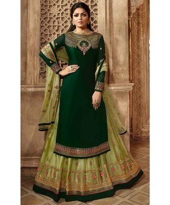 Partywear Designer Embroidery Green Satin Georgette Salwar Suit