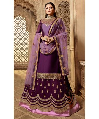 Partywear Designer Embroidery Purple Satin Georgette Salwar Suit