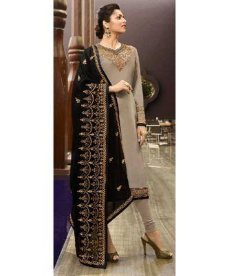 Partywear Designer Embroidery Grey Satin Georgette Salwar Suit