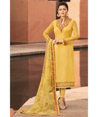 Partywear Designer Embroidery Yellow Satin Georgette Salwar Suit
