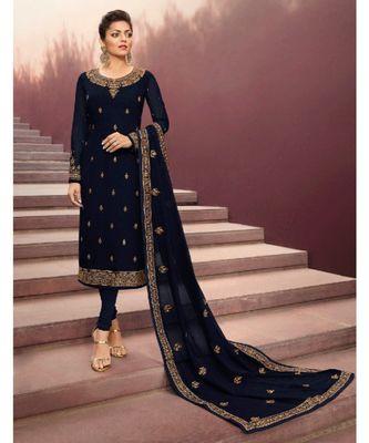 Partywear Designer Embroidery Navy Blue Georgette Salwar Suit