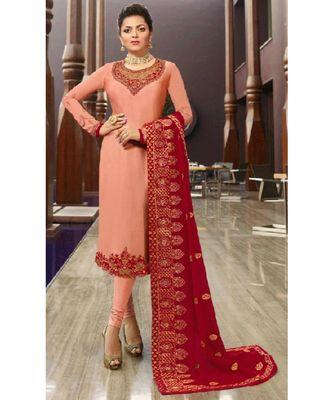 Partywear Designer Embroidery Peach Satin Georgette Salwar Suit
