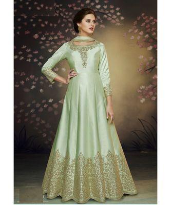 green embroidered art silk semi stitched salwar with dupatta