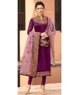 Partywear Designer Embroidery Dark Magenta Satin Georgette Salwar Suit