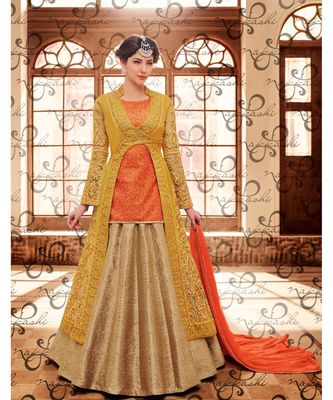 Orange  embroidered art silk semi stitched salwar with dupatta