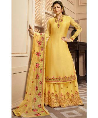 Partywear Designer Embroidery Yellow Georgette Satin Salwar Suit