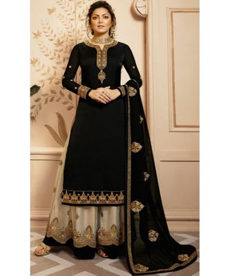Partywear Designer Embroidery Black Georgette Satin Salwar Suit