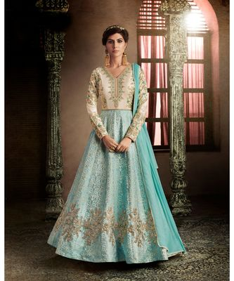 Blue embroidered Brocade semi stitched salwar with dupatta