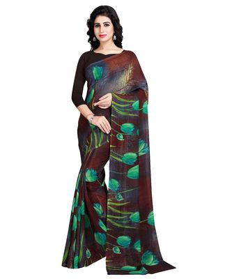 green printed georgette faux chiffon With Blouse