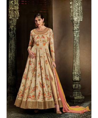 Cream embroidered art silk semi stitched salwar with dupatta