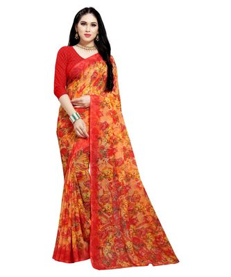 orange printed georgette faux chiffon With Blouse