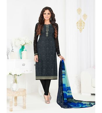 grey embroidered crepe semi stitched salwar with dupatta