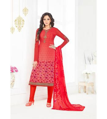 Red embroidered crepe semi stitched salwar with dupatta