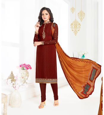 Brown embroidered crepe semi stitched salwar with dupatta