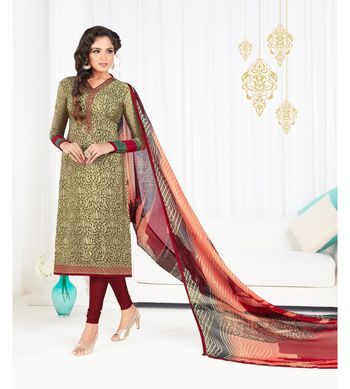 Cream embroidered crepe semi stitched salwar with dupatta
