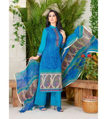 Blue embroidered crepe semi stitched salwar with dupatta