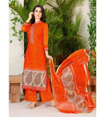 Orange embroidered crepe semi stitched salwar with dupatta