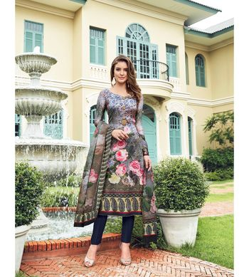 Multi embroidered Satin semi stitched salwar with dupatta