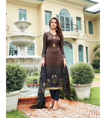 Brown embroidered Satin semi stitched salwar with dupatta