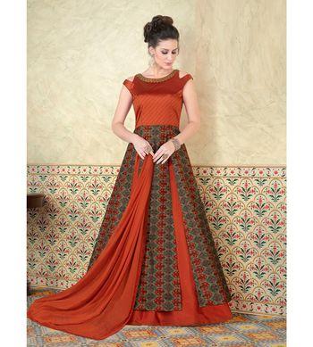 Red embroidered art silk semi stitched salwar with dupatta