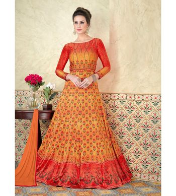 Orange embroidered Satin semi stitched salwar with dupatta
